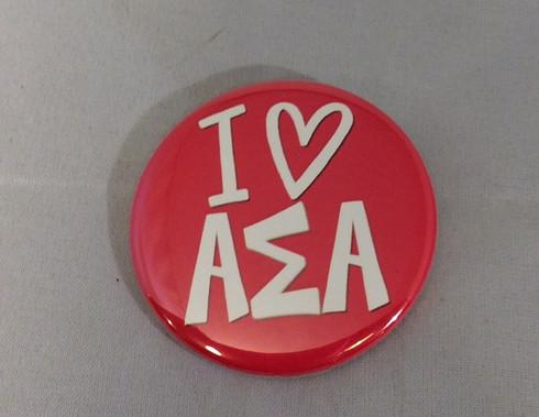 Alpha Sigma Alpha Sorority- I Heart Button- Small