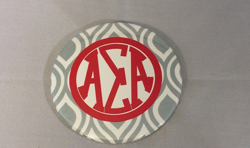 Alpha Sigma Alpha Sorority Gray and White Button-Large