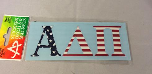 Alpha Delta Pi ADPI Sorority Car Letters- American Flag Pattern