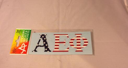 Alpha Epsilon Phi AEPHI Sorority Car Letters- American Flag Pattern