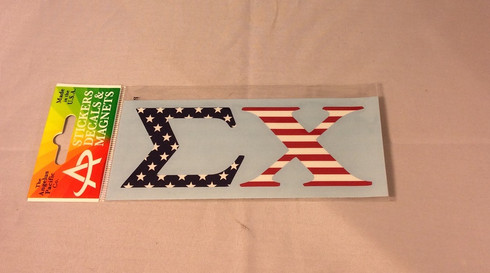 Sigma Chi Fraternity Car Letters- American Flag Pattern