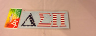 Delta Sigma Pi Fraternity Car Letters- American Flag Pattern