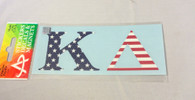 Kappa Delta Sorority USA Car Letters- American Flag Pattern