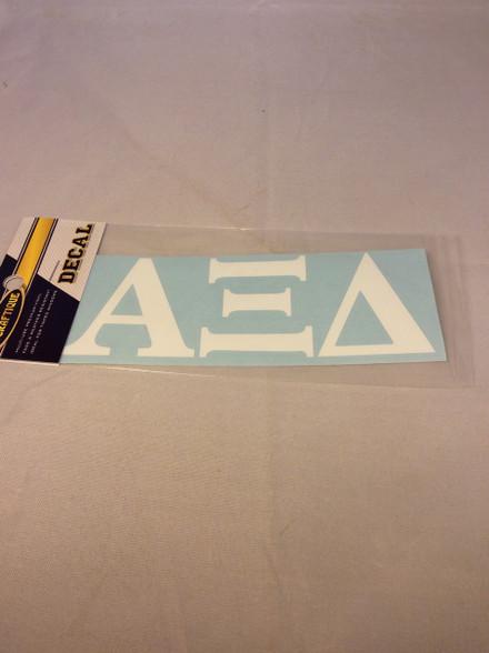 Alpha Xi Delta Sorority White Car Letters