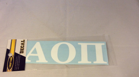 Alpha Omicron Pi Sorority White Car Letters