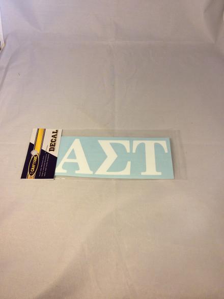 Alpha Sigma Tau Sorority White Car Letters