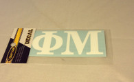 Phi Mu Sorority White Car Letters