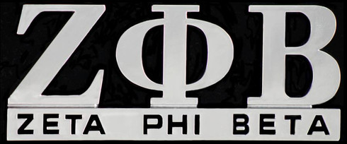 Zeta Phi Beta Sorority English Spelling Car Emblem