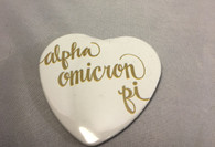 Alpha Omicron Pi Sorority Heart Shaped Pin- White