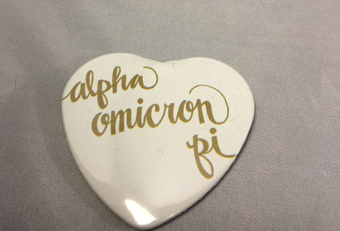 Alpha Omicron Pi Sorority Heart Shaped Pin- White