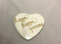 Kappa Kappa Gamma Sorority Heart Shaped Pin- White