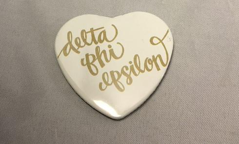 Delta Phi Epsilon DPHIE Sorority Heart Shaped Pin- White
