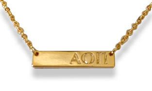 Alpha Omicron Pi Sorority Bar Necklace