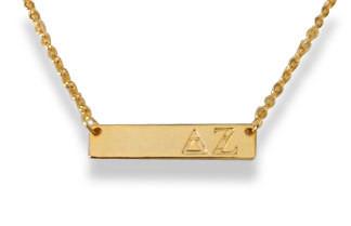 Delta Zeta Sorority Bar Necklace
