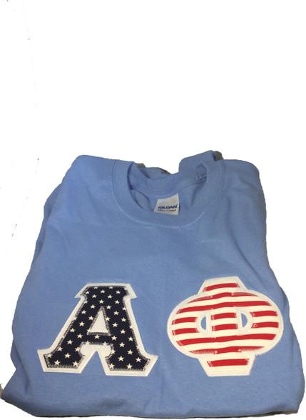 Alpha Phi Sorority American Flag Short Sleeve Shirt- Columbia Blue