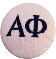Fabric Button Inspiration- Pink Seersucker With Navy Letters