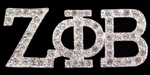 Zeta Phi Beta Sorority Crystal Pin- Silver