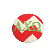 Fabric Button Inspiration- Red and White Chevron  with Green Font