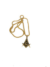 Mason Masonic Stainless Steel Square and Compass-Gold