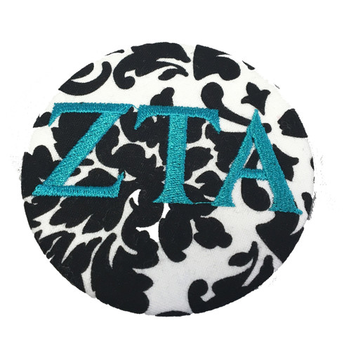 Fabric Button Inspiration- Black and White Button with Turquoise Letters