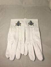 Mason Masonic Gloves with Symbol- Silver
