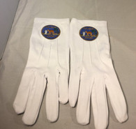 Order of the Eastern Star Queen of South White Gloves with Symbol
