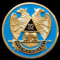 Mason Masonic 32nd Degree Car Emblem- Wings Down
