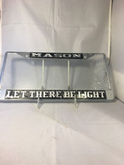 Mason Masonic Let There Be Light Black/Silver License Plate Frame