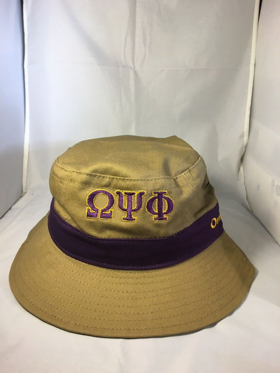 Omega Psi Phi Bucket Hat-Khaki - Brothers and Sisters  Greek Store d1cdced4f88