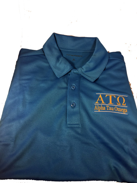 Alpha Tau Omega Fraternity Dri-Fit Polo-Blue