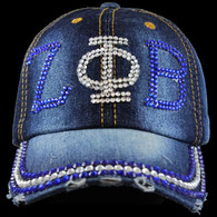 Zeta Phi Beta Sorority Distressed Denim Hat Cap with Rhinestones