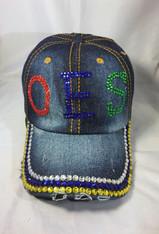 Order of the Eastern Star OES Distressed Denim Hat Cap with Rhinestones