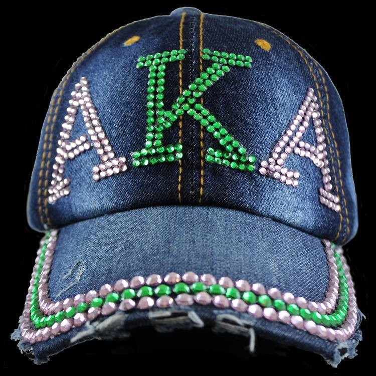 28020fe48d7 Alpha Kappa Alpha Sorority Distressed Denim Hat Cap with Rhinestones- Back.  See 2 more pictures