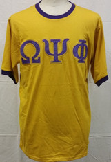 Omega Psi Phi Ringer T-shirt-Old Gold
