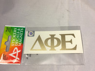 Delta Phi Epsilon DPHIE Sorority Metallic Gold Letters