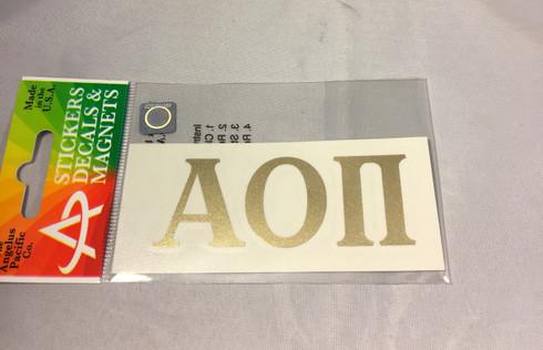 Alpha Omicron Pi Sorority Metallic Gold Letters