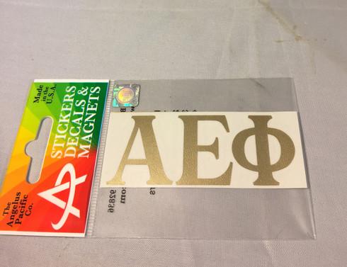 Alpha Epsilon Phi AEPHI Sorority Metallic Gold Letters