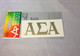 Alpha Sigma Alpha Sorority Metallic Gold Letters