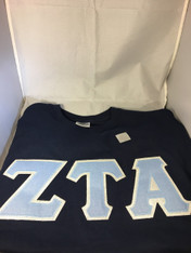 Shirt Inspiration Sorority Blue Glitter Double Stitched Letter Shirt- Navy