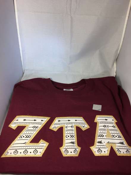 Shirt Inspiration Sorority Arrow Double Stitched Letter Shirt- Maroon
