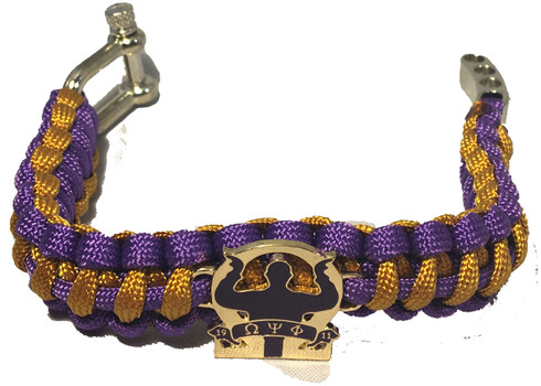 Omega Psi Phi Fraternity Survival Paracord Bracelet With Symbol