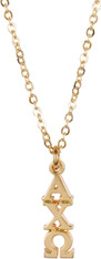 Alpha Chi Omega Sorority Gold Lavaliere with Chain