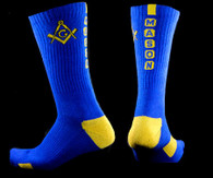 Mason Masonic Dry Fit Crew Socks- Blue/Gold