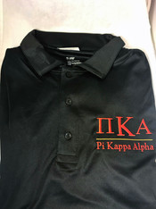 Pi Kappa Alpha PIKE Fraternity Dri-Fit Polo- Black