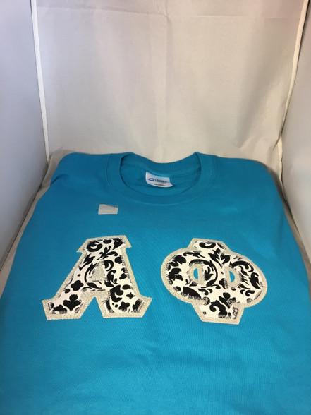 Shirt Inspiration Turquoise Double Stitched Letter Shirt- Black/White Damask