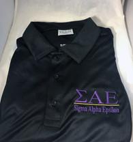 Sigma Alpha Epsilon SAE Fraternity Dri-Fit Polo-Black- Purple Letters