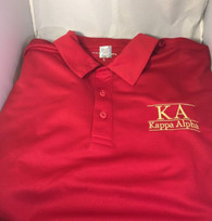 Kappa Alpha Fraternity Dri-Fit Polo- Red- Yellow Lines