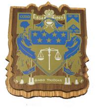 Delta Upsilon Fraternity Raised Wood Crest