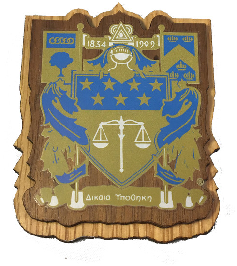 Delta Upsilon Fraternity Raised Wood Crest