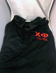 Chi Phi Fraternity Dri-Fit Polo- Black